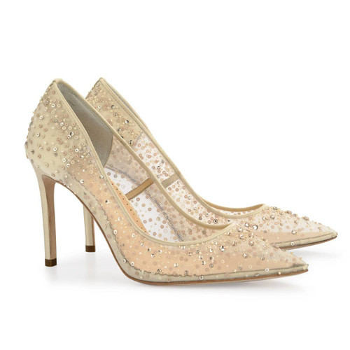 Elsa is from Bella Belle's Euphoria collection. These stunning diamond studded heels feature hand-beaded sequin degrade and embellished crystal strass for a beautiful shimmer effect. Elsa Ivory studded high heels are a comfortable, modern take on Cinderella's glass slippers as 4 inch heels.