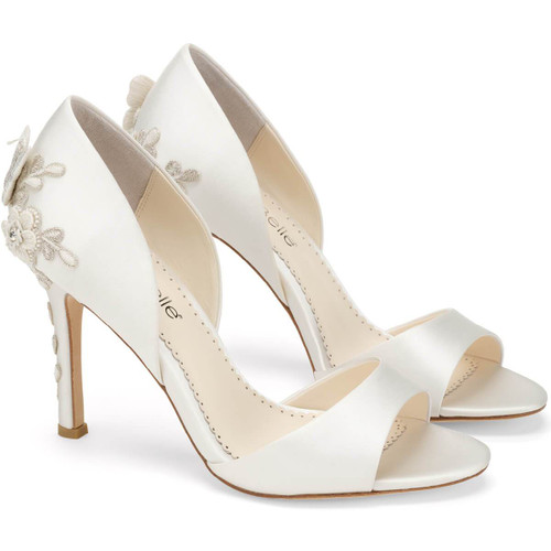 The revealing D'Orsay shape of these embellished heel pumps is combined with a peep toe for a minimal silhouette to accentuate the foot's curve. A captivating 3D butterfly and flower scene in silver threading climbs up the back of the embellished heel. Josephine's garden motif is perfect for any outdoor setting.