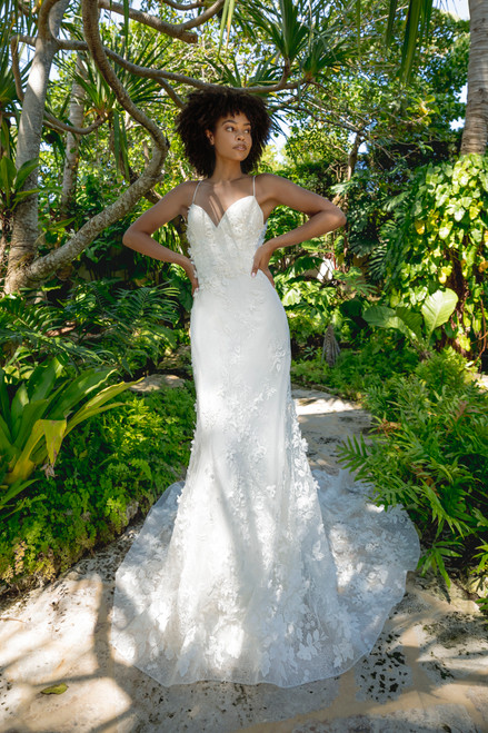 Beaded modified A-line gown, modified V-neck, spaghetti straps, 3-D floral and lace detailing, natural waist, chapel train.