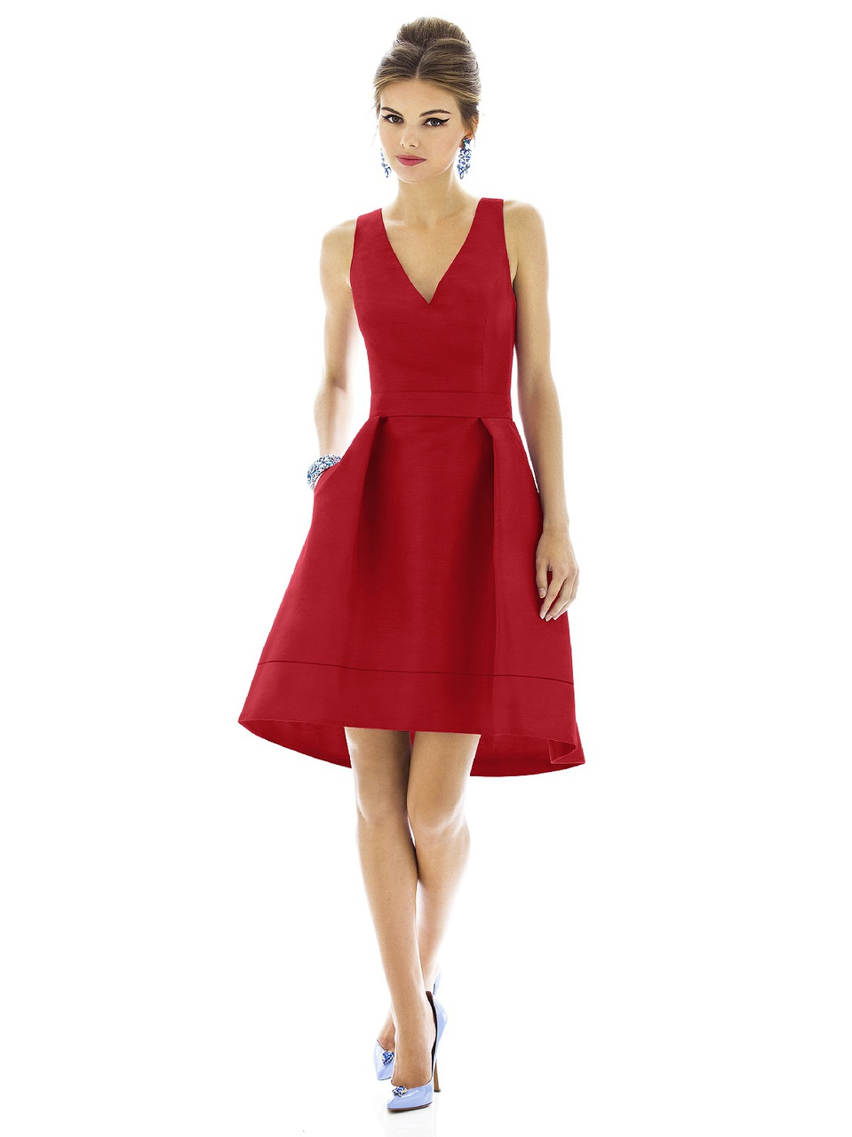 """Alfred Sung Style D588  Fabric: Peau De Soie Cocktail length v-neck peau de soie dress w/ matching 1.5"""" belt at natural waist and subtle hi-low hem. Pleated skirt has pockets at side seams. Front skirt is approx. 22.5"""" from natural waist to hem. Also available full length as style D589."""