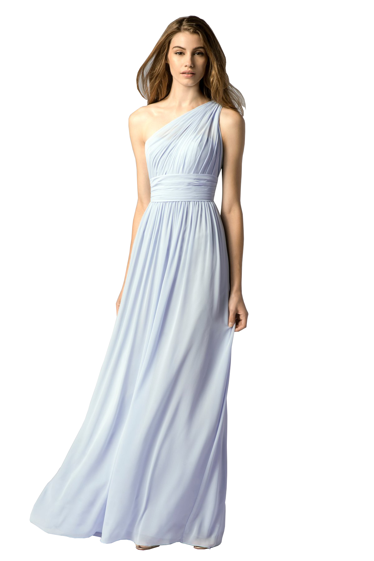 Watters 7546I One-shoulder, crinkle chiffon dress with shirred bodice featuring front key-hole and shirred a-line skirt.