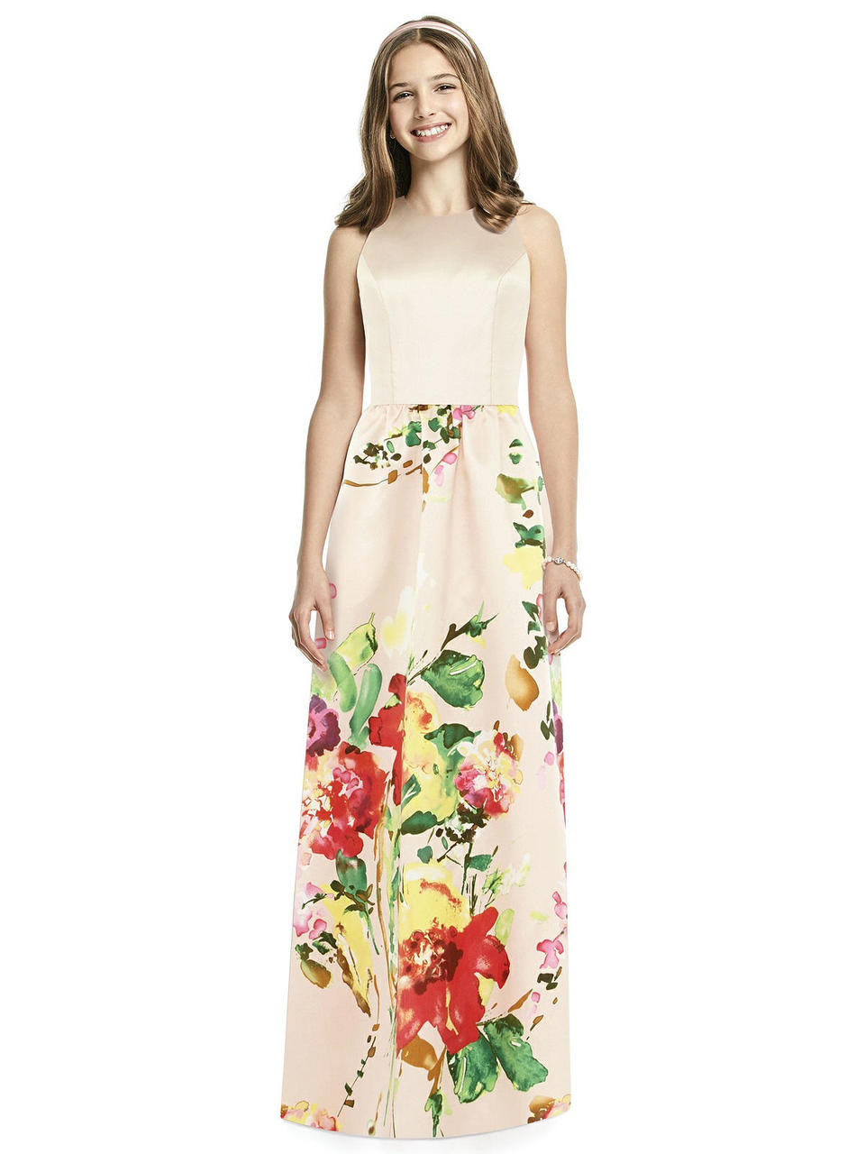 Junior version of style D707CP. Full length sleeveless sateen twill dress with jewel neck and keyhole back. This style available with a blush bodice and blush bouquet skirt or white bodice and white bouquet skirt. Pockets at side seams of shirred skirt.