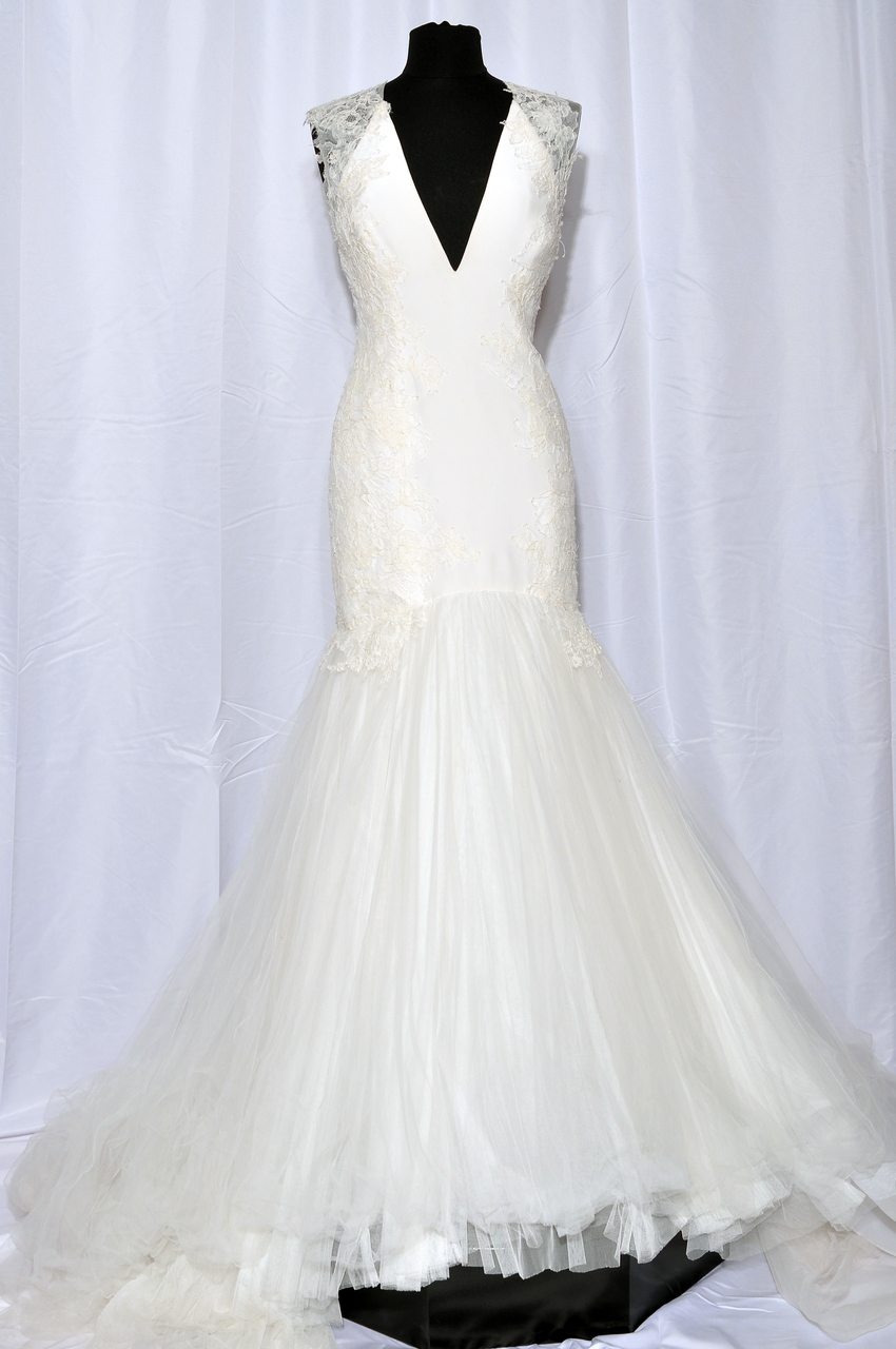 Rivini Eleanore Gown of mixed laces hand applied and finished with a romantic cathedral tulle train color: ivory only