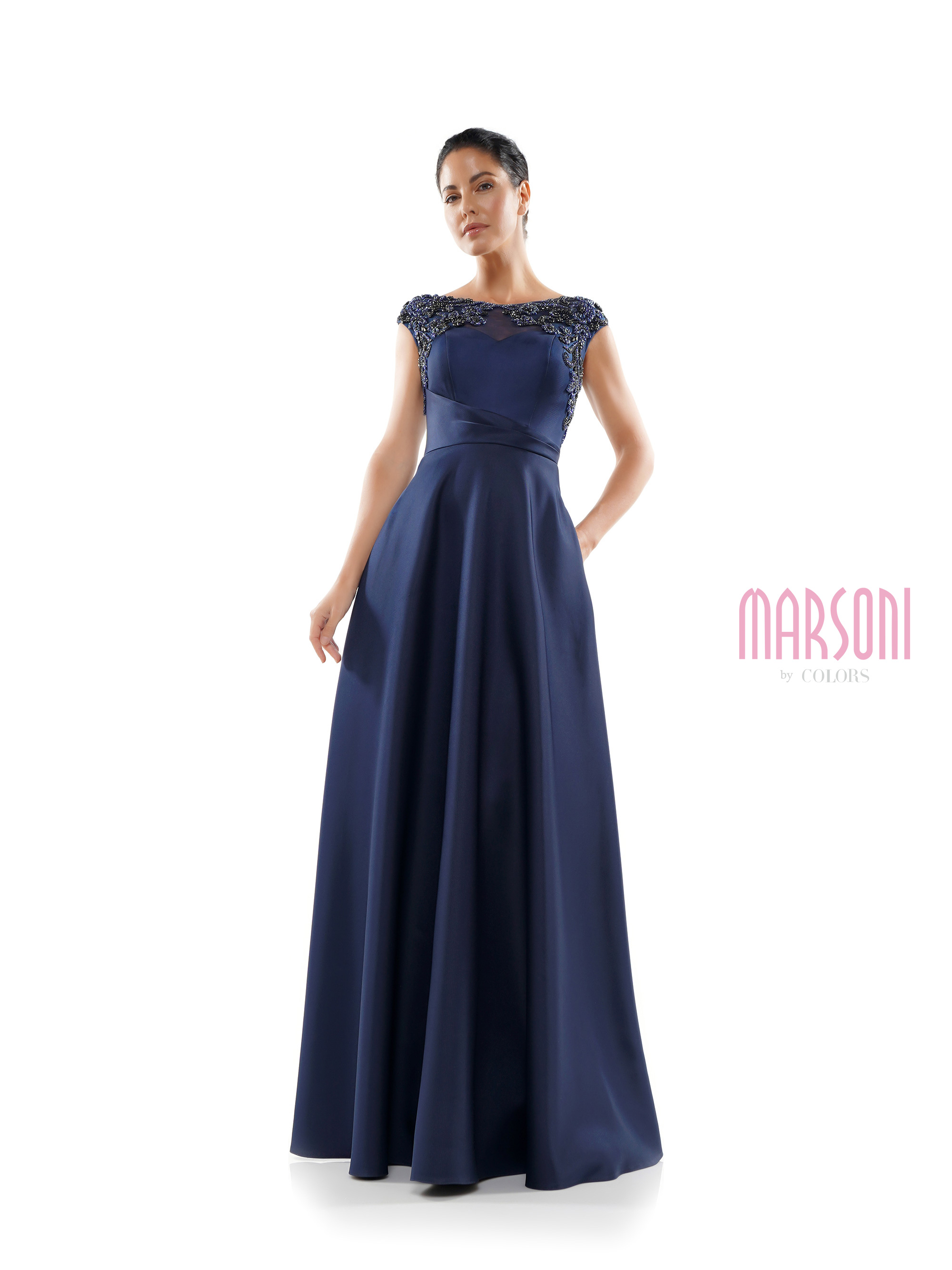 46 inch bateau neck double ply satin A line dress with sheer beaded shoulder, cap sleeve, pockets