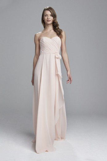 AMSALE MAIDS JAYCIE STRAPLESS BRIDESMAIDS DRESS WITH CASCADING SKIRT DETAIL FROM AMSALE BRIDESMAIDS.