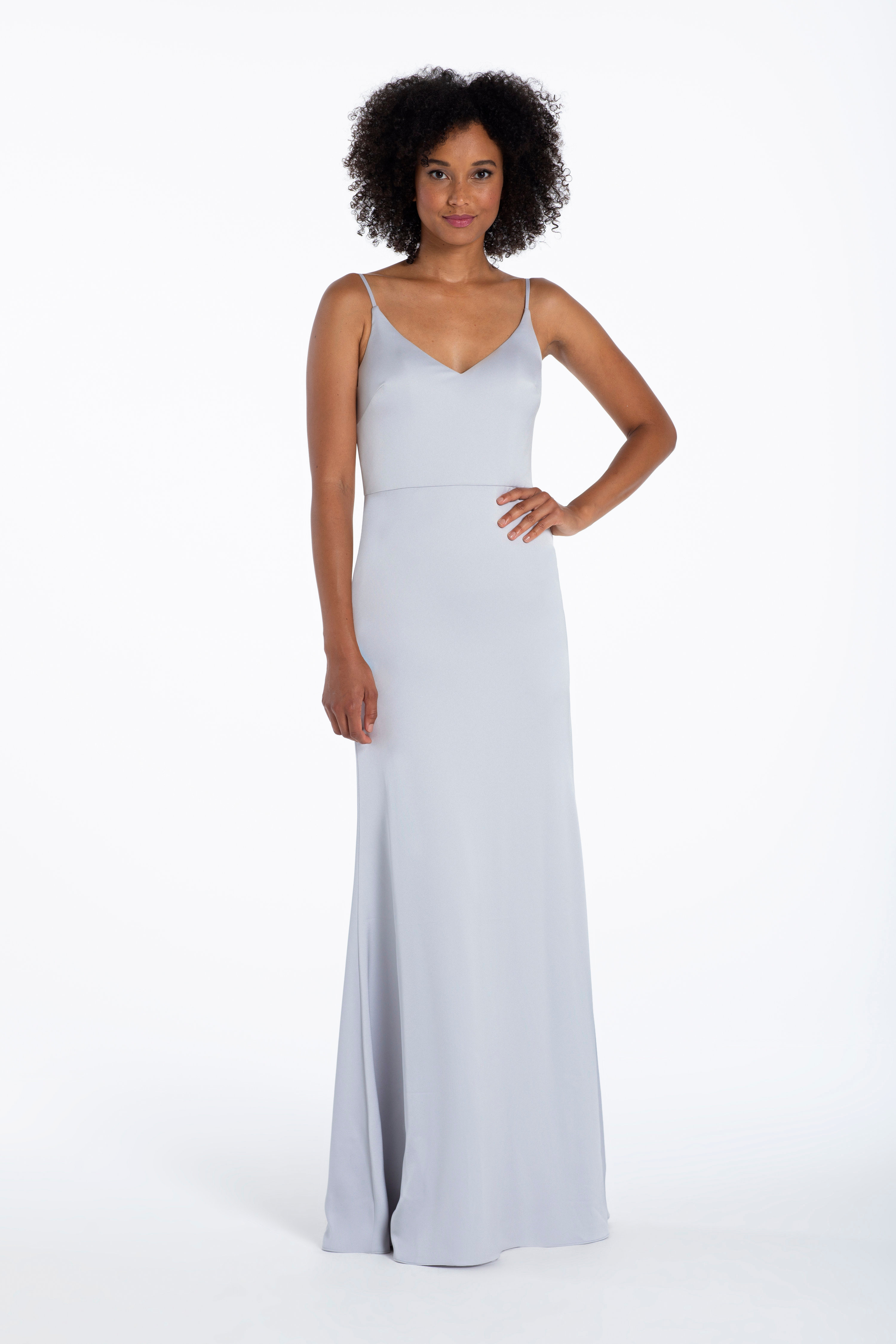 crepe de chine A-line gown, V-neckline, natural waist.