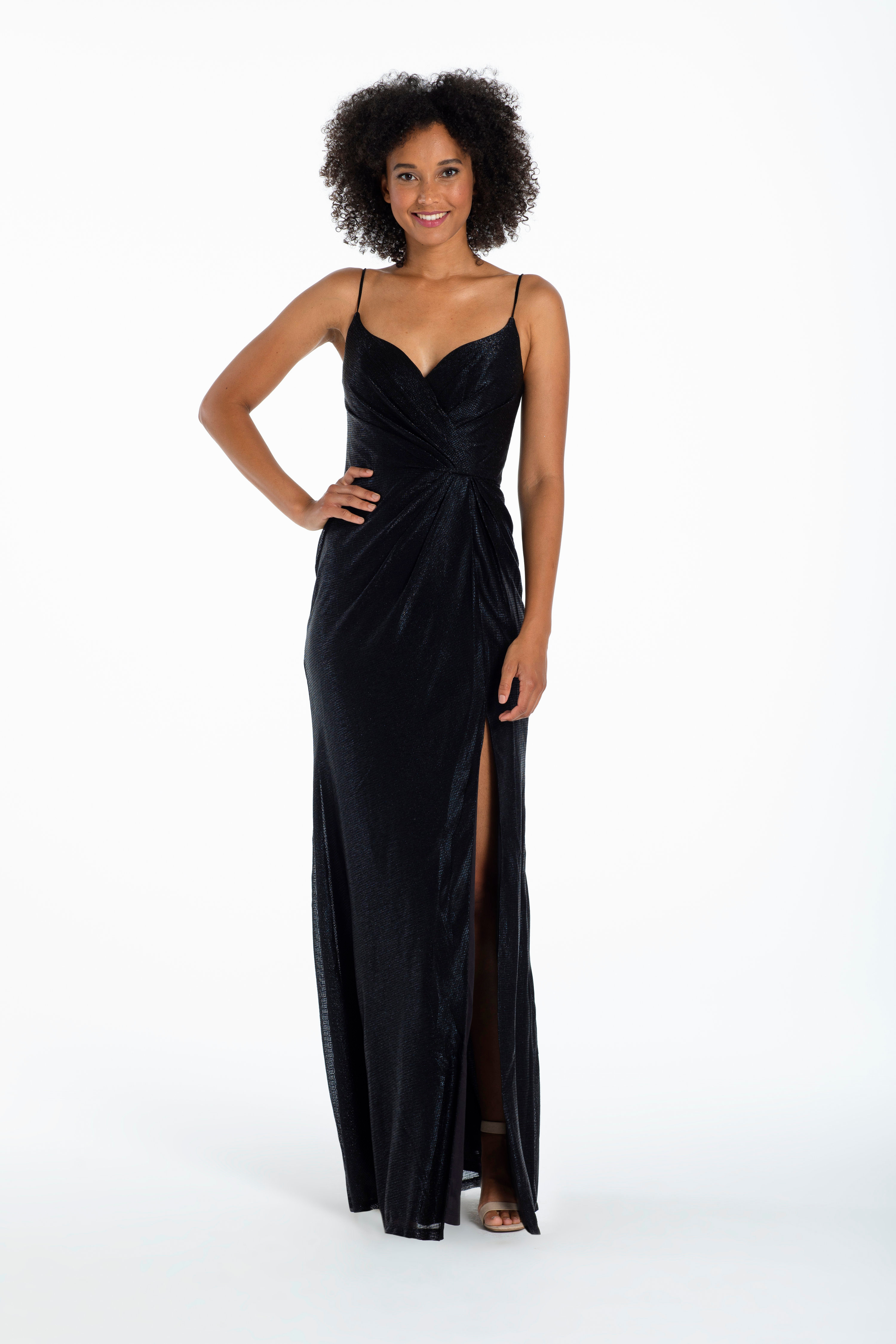 liquid metallic A-line gown, curved V-neckline, natural waist, gathered skirt with front slit.