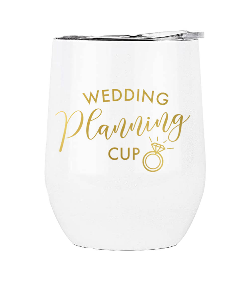 This insulated tumbler reads This Is My Wedding Planning Cup in gold metallic. This cup would make a great Engagement gift for the Bride to Be!