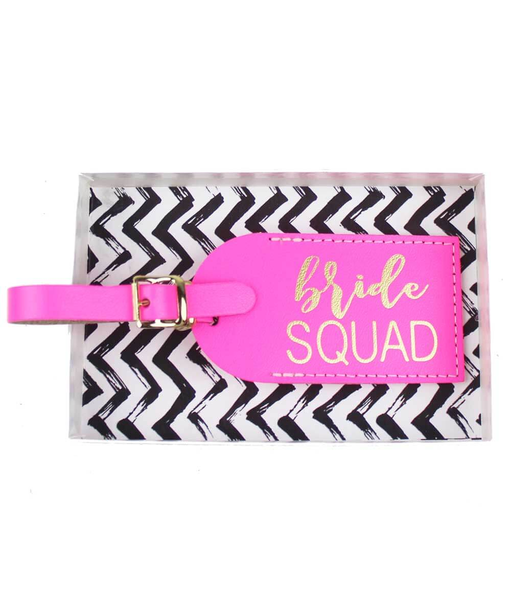 The most adorable Bachelorette favor for you and your Bride Squad! These neon Pink Luggage Tags ship in the Chevron gift box pictured. Grab one for each of your partygoers and really make a statement in the airport!