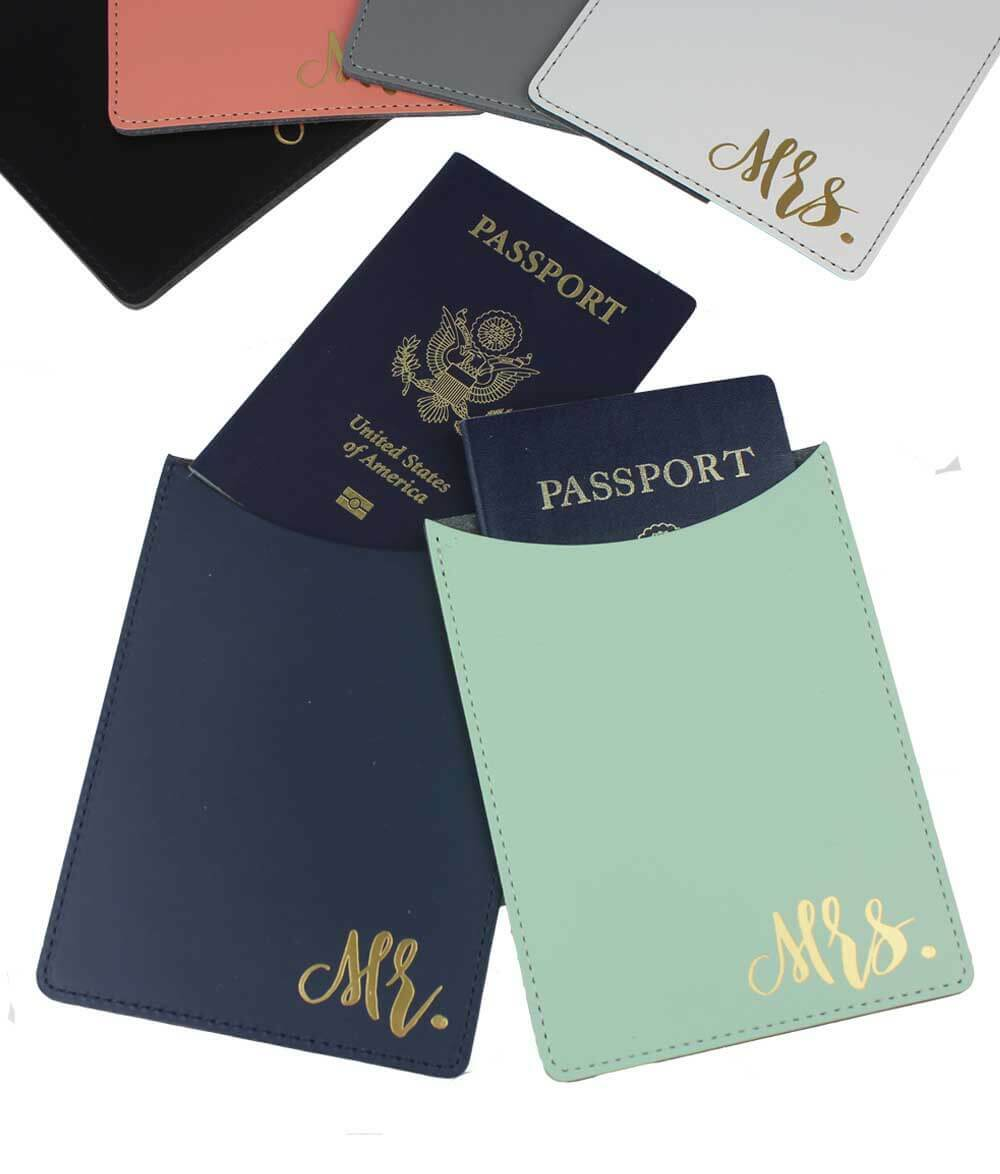 A cute gift for the Bride and Groom traveling internationally for their Honeymoon! Passport holders are 100 percent Leather, embossed in gold with Mr. or Mrs.