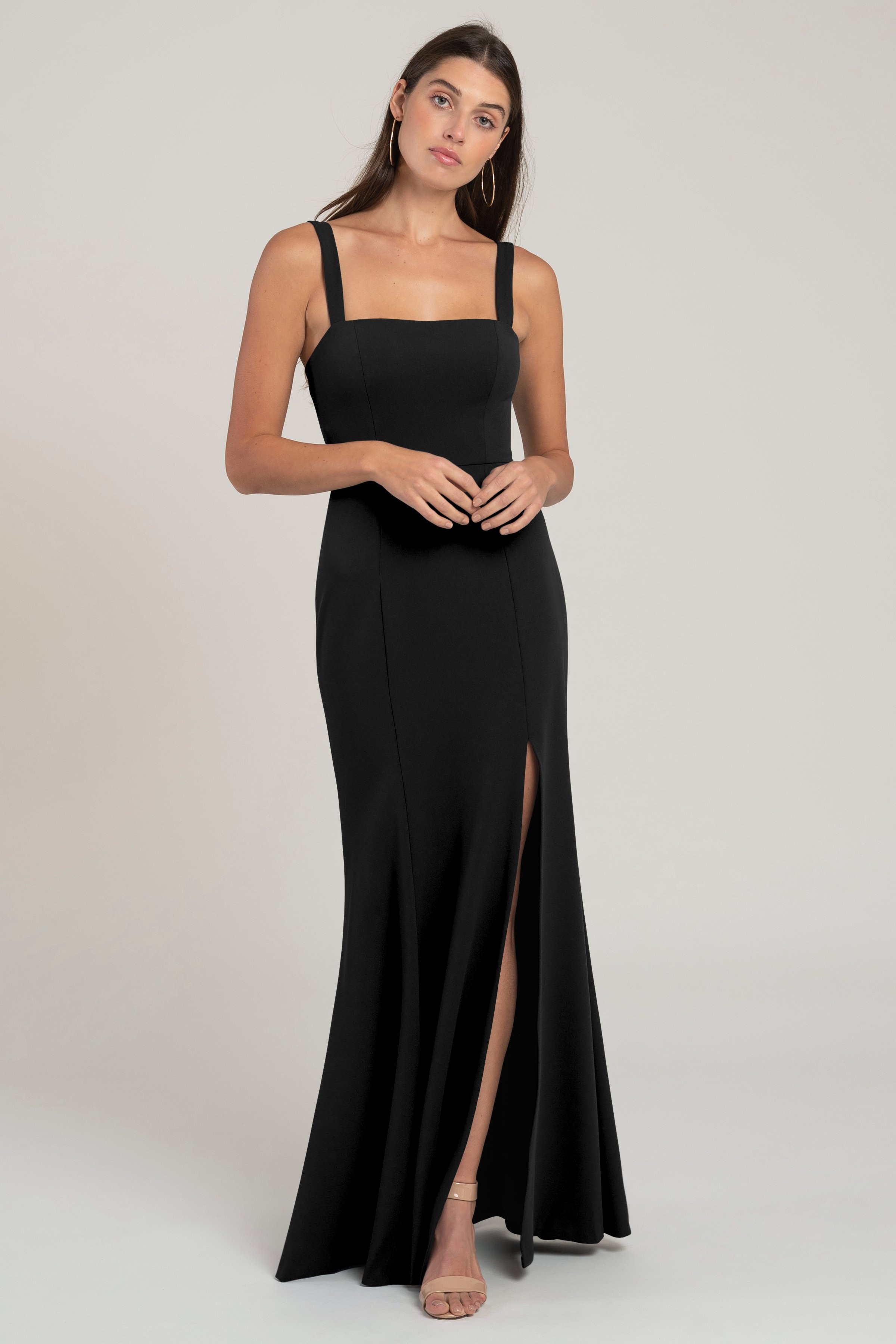 The Jenner square neck fit and flare knit crepe bridesmaid dress flatters your every curve. The wide set straps and side slit skirt give this style serious cool girl attitude.
