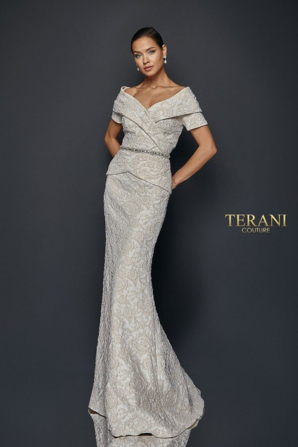 Pleated off shoulder collar gown with short sleeve, mock 2 piece dress with bead waist band.