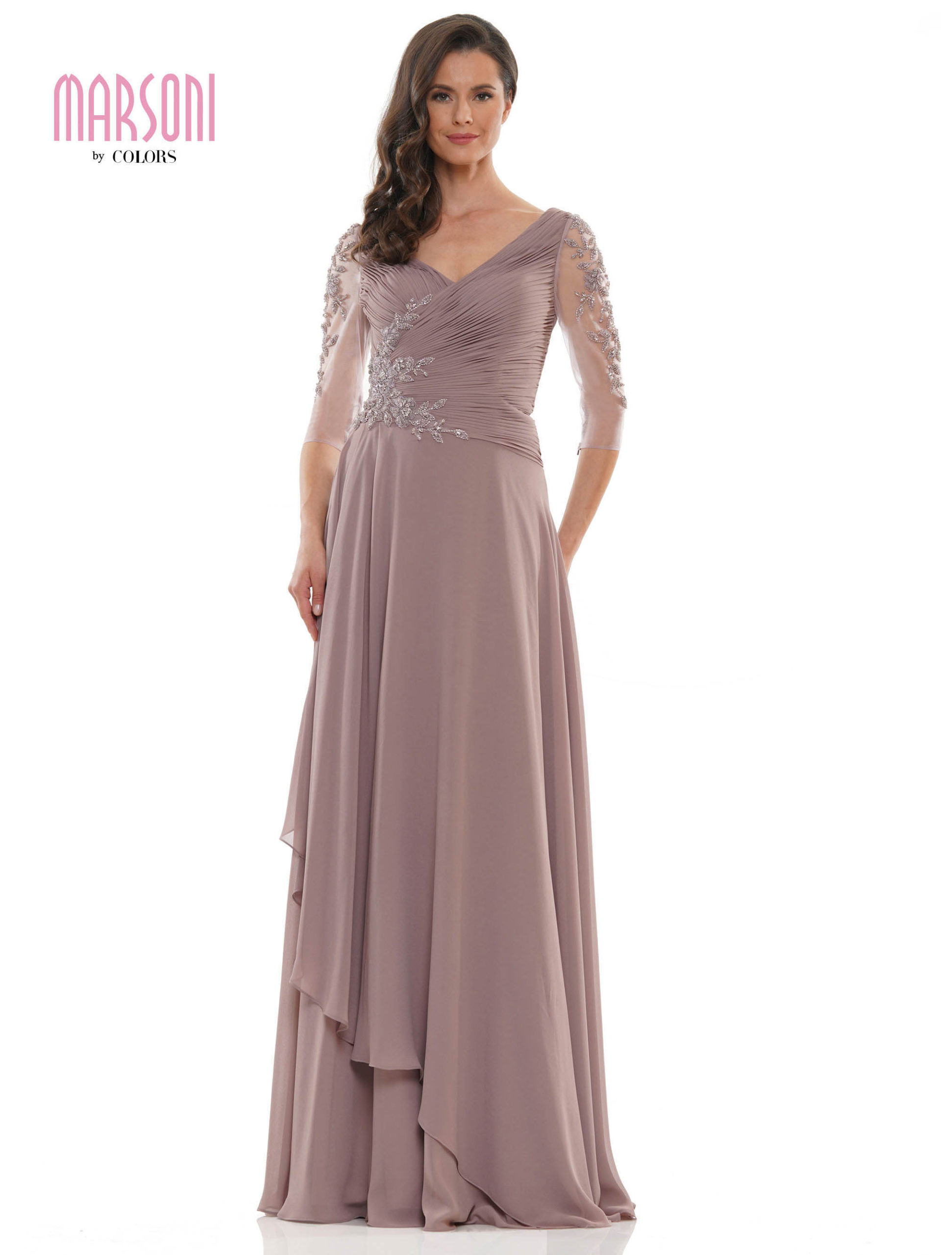 A-line dress with V-neck, shirring bodice,3/4 sleeves with beaded, ruffles skirt