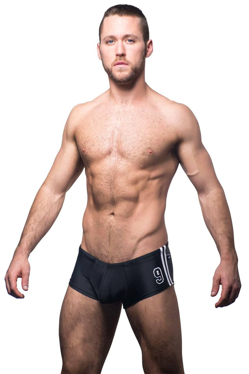 874717ef76ac5 Black - Andrew Christian Champion Swim Trunk 7519 - Front View - Topdrawers  Swimwear for Men ...