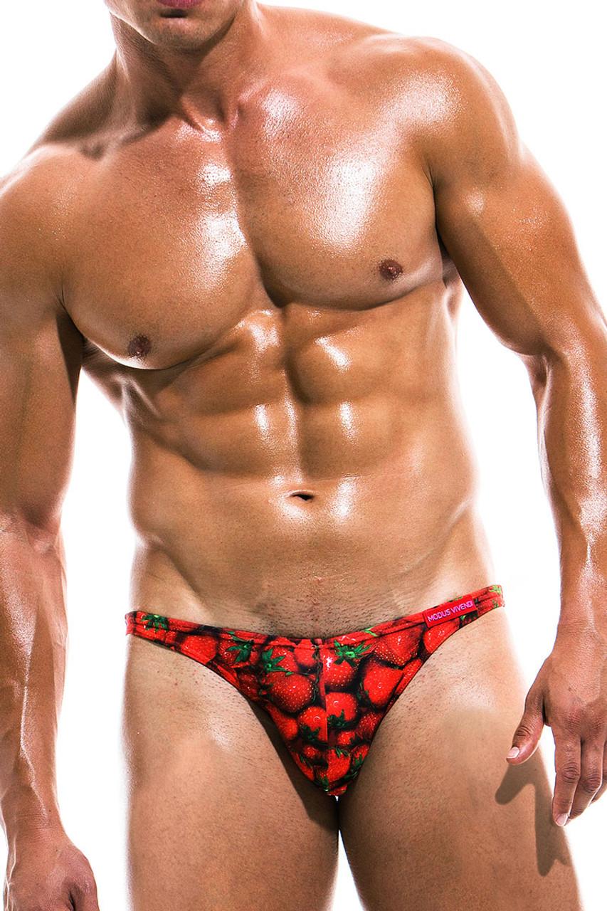 3fbd2c5f64f69 Modus Vivendi Fruits Low Cut Swim Brief FS1911 - Strawberry - Mens Swim  Bikini Swimsuits ...