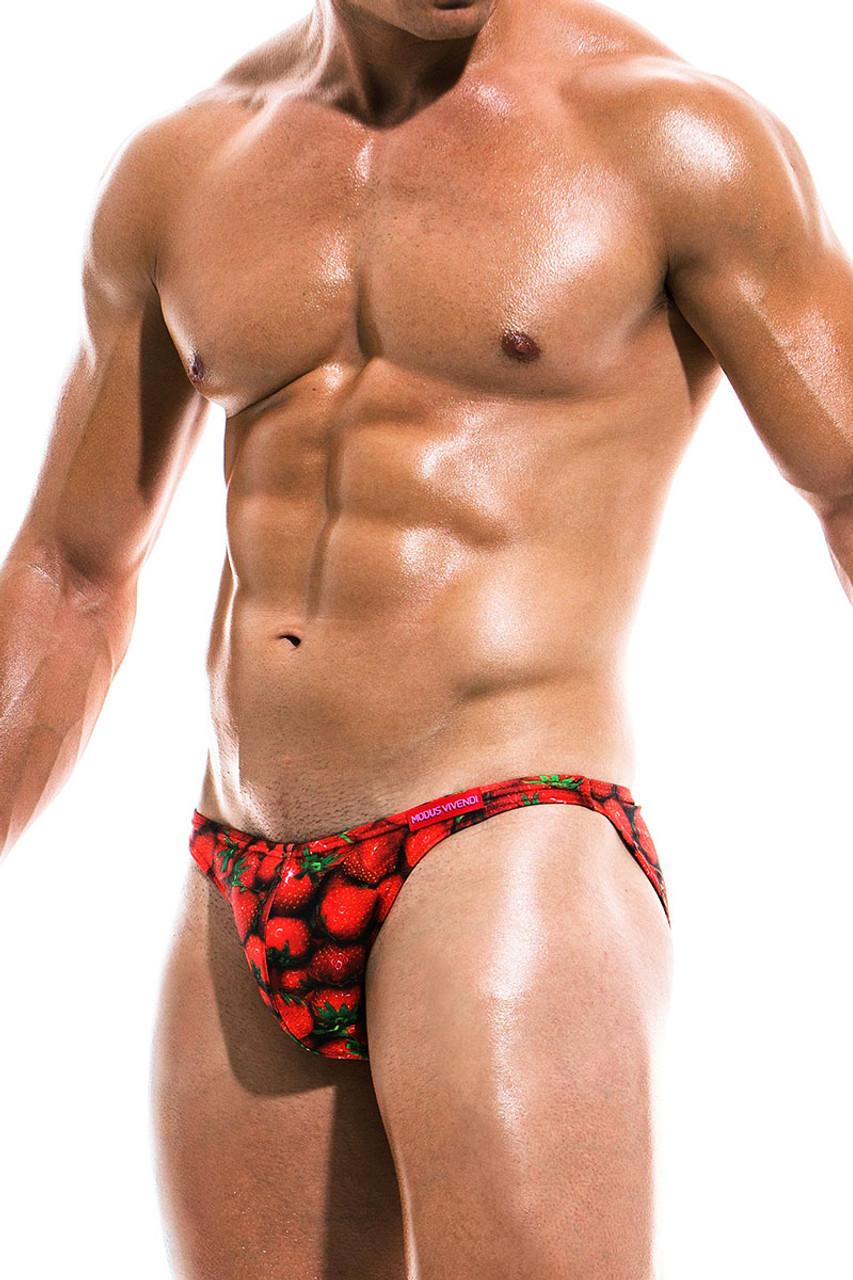 533477b66c ... Modus Vivendi Fruits Low Cut Swim Brief FS1911 - Strawberry - Mens Swim  Bikini Swimsuits ...
