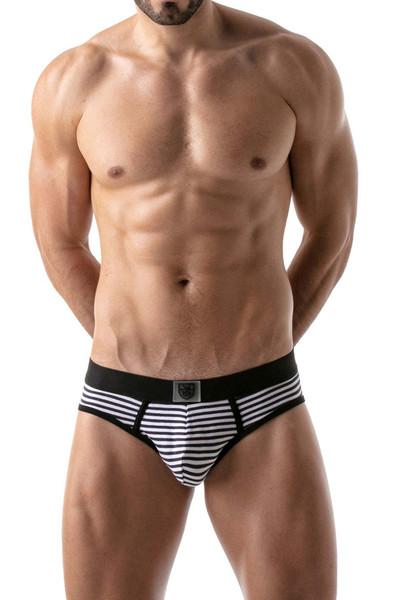 TOF Paris Stripes Push-Up Bottomless Brief TOF103 Black - Mens Jock Briefs - Front View - Topdrawers Underwear for Men