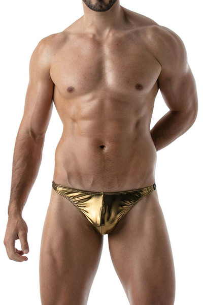 TOF Paris Metal Thong | Gold TOF131 Gold - Mens Thongs - Front View - Topdrawers Underwear for Men