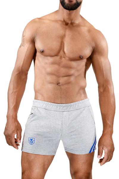 TOF Paris Paris Shorts SH0009 Grey/Blue - Mens Athletic Shorts - Front View - Topdrawers Clothing for Men