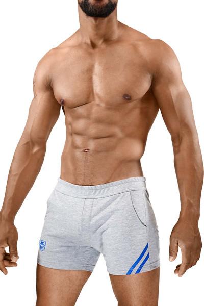 TOF Paris Paris Shorts SH0009 Grey/Blue - Mens Athletic Shorts - Side View - Topdrawers Clothing for Men