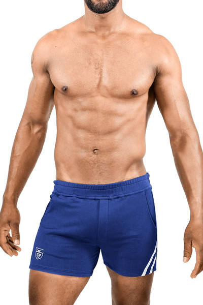 TOF Paris Paris Shorts SH0009 Navy Blue/White - Mens Athletic Shorts - Front View - Topdrawers Clothing for Men