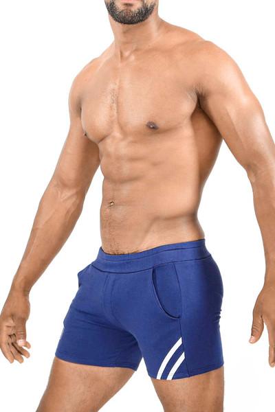 TOF Paris Paris Shorts SH0009 Navy Blue/White - Mens Athletic Shorts - Side View - Topdrawers Clothing for Men