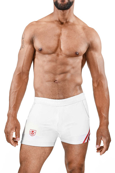 TOF Paris Paris Shorts SH0009 White/Red - Mens Athletic Shorts - Front View - Topdrawers Clothing for Men