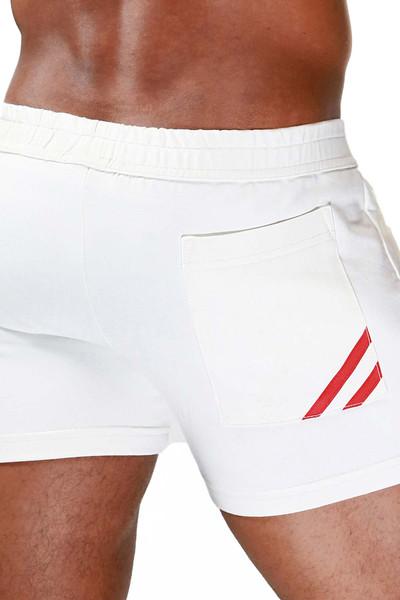 TOF Paris Paris Shorts SH0009 White/Red - Mens Athletic Shorts - Rear View - Topdrawers Clothing for Men