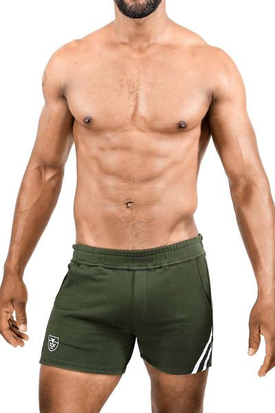 TOF Paris Paris Shorts SH0009 Khaki/White - Mens Athletic Shorts - Front View - Topdrawers Clothing for Men