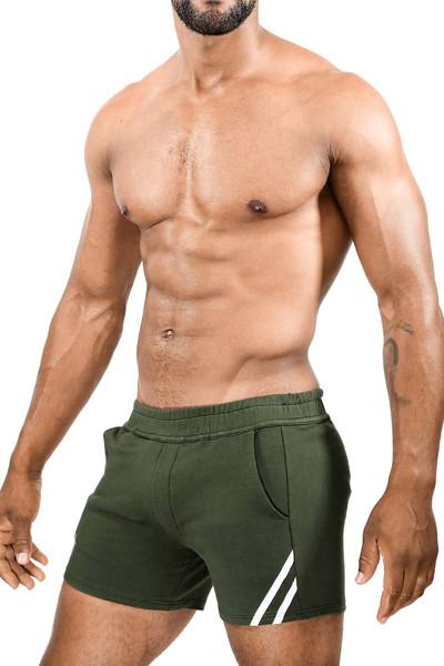TOF Paris Paris Shorts SH0009 Khaki/White - Mens Athletic Shorts - Side View - Topdrawers Clothing for Men
