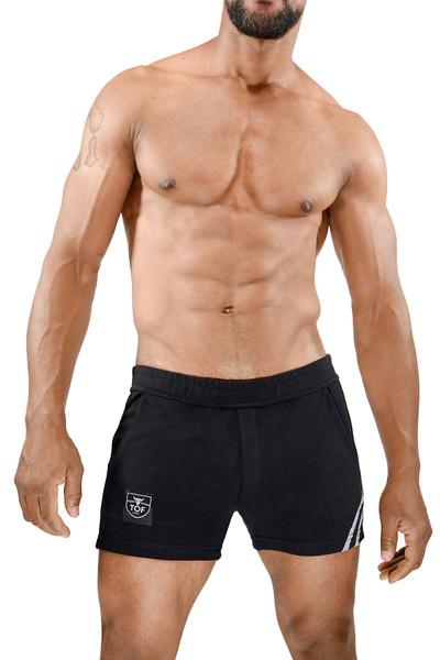 TOF Paris Paris Shorts SH0009 Black/Grey - Mens Athletic Shorts - Front View - Topdrawers Clothing for Men