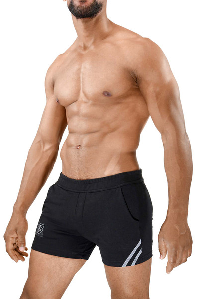 TOF Paris Paris Shorts SH0009 Black/Grey - Mens Athletic Shorts - Side View - Topdrawers Clothing for Men