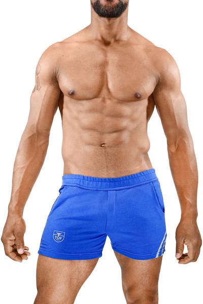 TOF Paris Paris Shorts SH0009 Blue/Grey - Mens Athletic Shorts - Front View - Topdrawers Clothing for Men