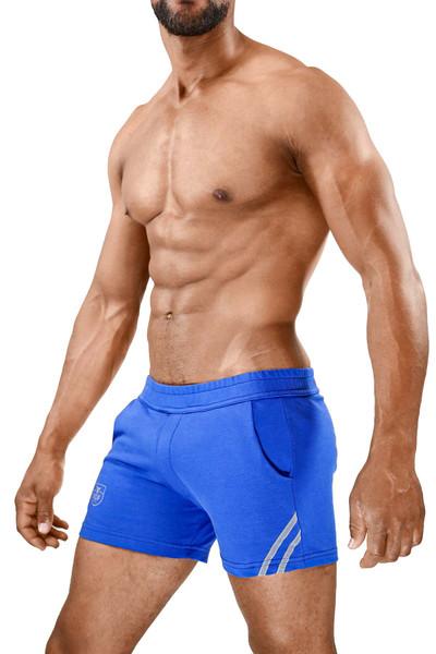 TOF Paris Paris Shorts SH0009 Blue/Grey - Mens Athletic Shorts - Side View - Topdrawers Clothing for Men