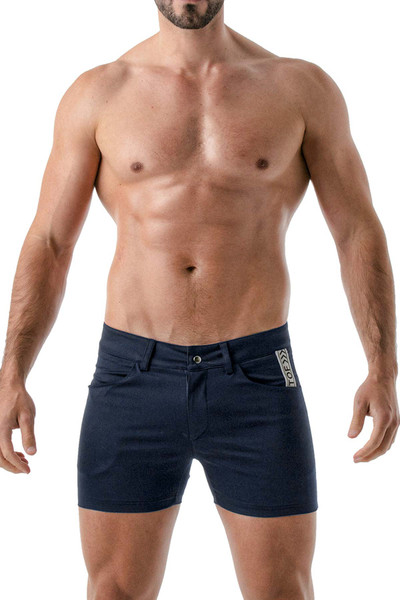 TOF Paris Mid-Thigh Shorts TOF147 Navy Blue - Mens Shorts - Front View - Topdrawers Clothing for Men
