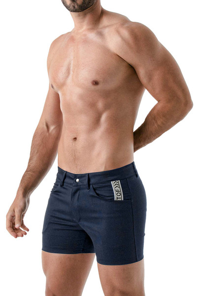 TOF Paris Mid-Thigh Shorts TOF147 Navy Blue - Mens Shorts - Side View - Topdrawers Clothing for Men