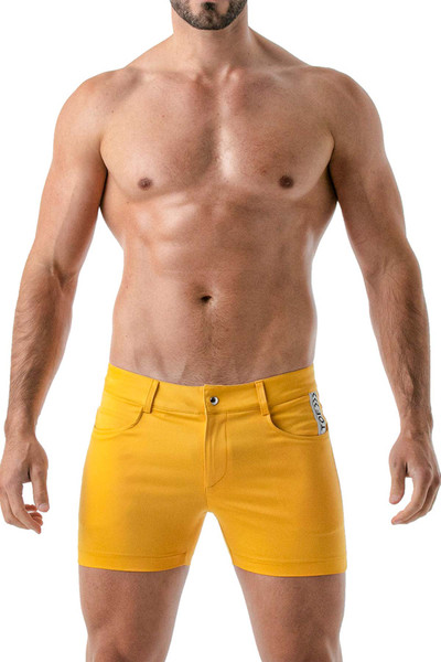 TOF Paris Mid-Thigh Shorts TOF147 Yellow - Mens Shorts - Front View - Topdrawers Clothing for Men