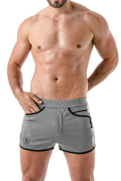 TOF Paris Camo Gym Shorts TOF144 Grey - Mens Athletic Shorts - Front View - Topdrawers Clothing for Men