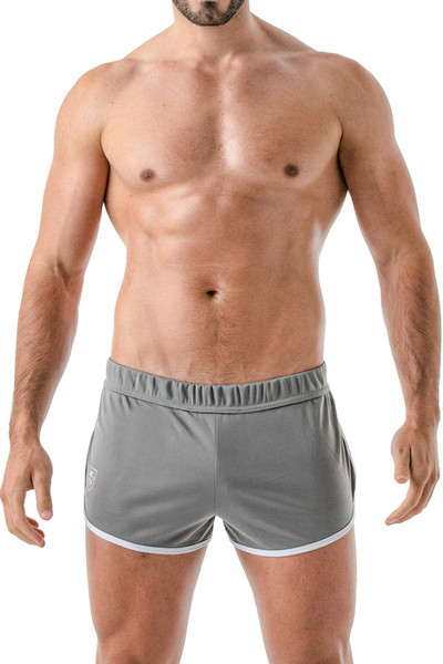 TOF Paris Runner Shorts TOF145 Grey - Mens Athletic Shorts - Front View - Topdrawers Clothing for Men