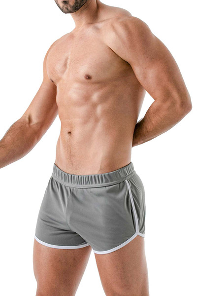 TOF Paris Runner Shorts TOF145 Grey - Mens Athletic Shorts - Side View - Topdrawers Clothing for Men
