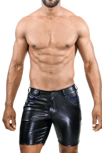 TOF Paris Gladiator Long Shorts SH0022 Black/Blue - Mens Fetish Shorts - Front View - Topdrawers Clothing for Men