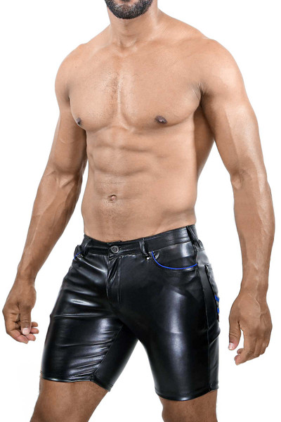 TOF Paris Gladiator Long Shorts SH0022 Black/Blue - Mens Fetish Shorts - Side View - Topdrawers Clothing for Men