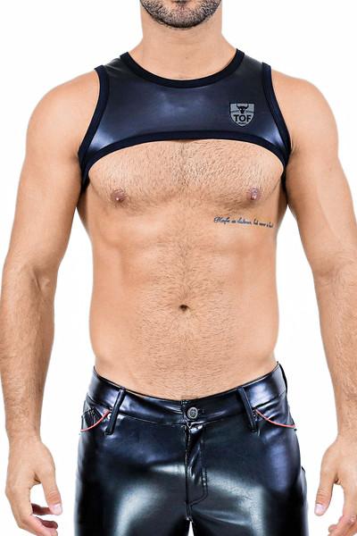 TOF Paris Deri Harness H0002 Black - Mens Fetish Harnesses - Front View - Topdrawers Clothing for Men
