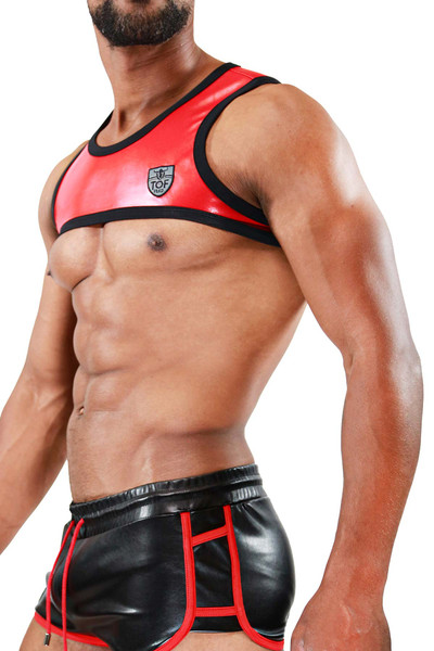 TOF Paris Deri Harness H0002 Red - Mens Fetish Harnesses - Side View - Topdrawers Clothing for Men
