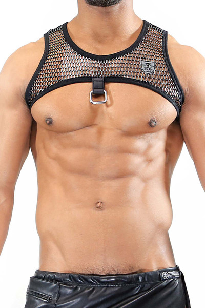 TOF Paris Roman Harness H0008 Silver - Mens Fetish Harnesses - Front View - Topdrawers Clothing for Men