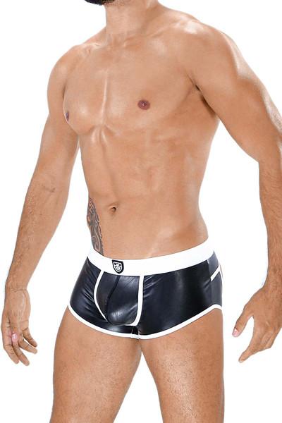 TOF Paris Fetish Bottomless Boxer SV0012 Black/White - Mens Fetish Jock Boxers - Side View - Topdrawers Underwear for Men
