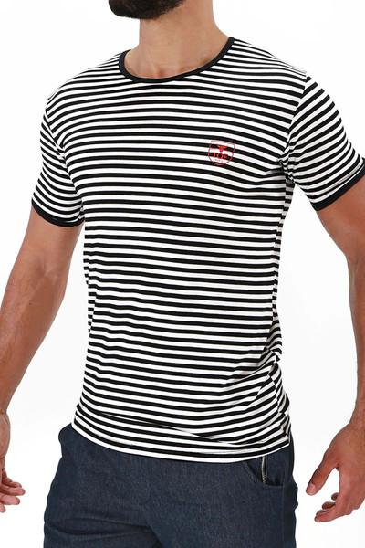 TOF Paris Sailor T-Shirt TS0049 White/Black - Mens T-Shirts - Side View - Topdrawers Clothing for Men