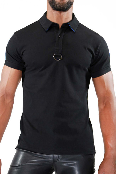 TOF Paris Smart Polo TS0031 Black/Blue - Mens Polo Shirts - Front View - Topdrawers Clothing for Men