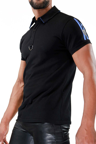 TOF Paris Smart Polo TS0031 Black/Blue - Mens Polo Shirts - Side View - Topdrawers Clothing for Men