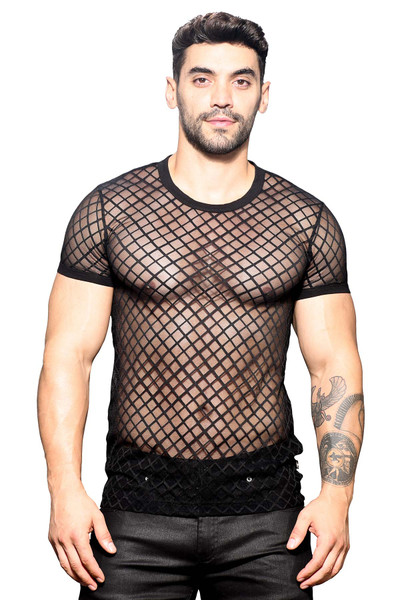 Andrew Christian Lattice Lace Crew Neck Tee 10315 - Mens T-Shirts - Front View - Topdrawers Clothing for Men